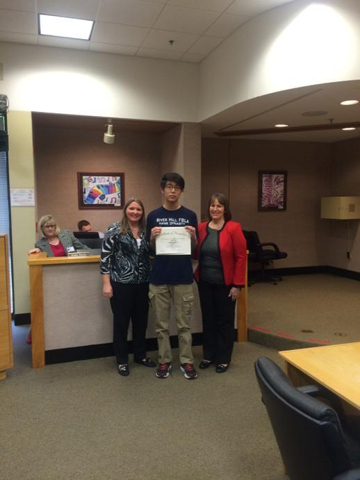 A HUGE congratulations to Nick Kim for being recognized at the BOE mtg for a perfect SAT score!